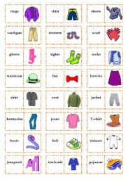 English Worksheet: Let�s play dominoes! Set 4: Clothes