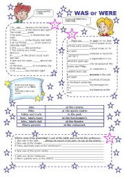 English worksheet: WAS or WERE (2 PAGES)