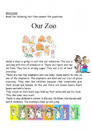 English Worksheets: our zoo reading activity or test