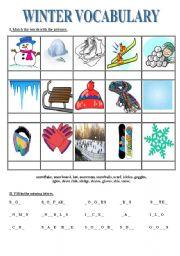 winter vocabulary esl worksheet by myszka. Black Bedroom Furniture Sets. Home Design Ideas