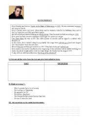 English Worksheets: READING COMPREHENSION     E. PRESLEY