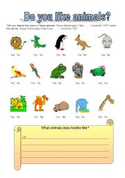 english worksheets do you like animals what animals do. Black Bedroom Furniture Sets. Home Design Ideas