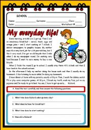 English Worksheet: MY EVERYDAY LIFE! ( 2 PAGES )