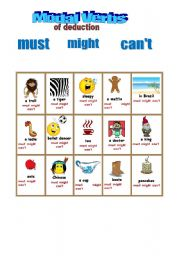 English Worksheet: 2 MODAL VERBS OF DEDUCTION: must, might, can�t