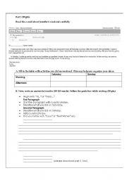 English Worksheets: Elementary Writing Exam Part 1