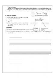English Worksheets: Elemantary Writing  Exam Part 2