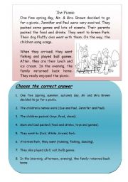 English Worksheet: The Picnic (comprehension WITH QUESTIONS)