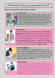 English Worksheet: What do parents and kids think about homework?