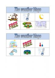English Worksheet: weather bingo part 1
