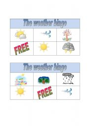 English Worksheet: weather bingo part 2