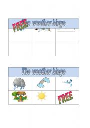 English Worksheet: weather bingo part 3