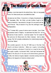 English Worksheet: The History of Uncle Sam - 2 pages + key
