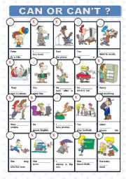 English Worksheet: CAN OR CAN´T?