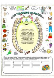 English Worksheet: the walking alphabet