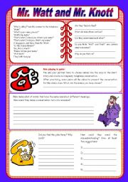 English Worksheets: Mr. Watt and Mr. Knott - a funny dialog with comprehension questions (fully editable)