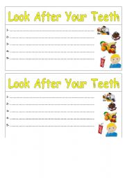 English Worksheets: look after your teeth