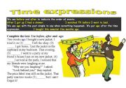 English Worksheet: Tme expressions: before, after, ago