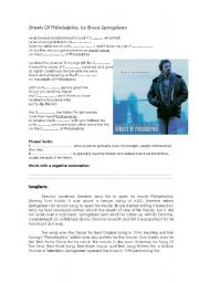 English Worksheets: Streets of Philadelphia, by Bruce Springsteen