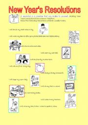 English Worksheet: NEW YEAR�S RESOLUTIONS FOR YOUNG LEARNERS