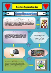 English Worksheet: History of Language Games: ( puzzles, monopoly, chess ...etc Reading Comprehension
