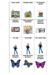 English Worksheet: COMPARATIVE AND SUPERLATIVE GO FISH GAME PART 1