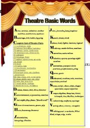 English Worksheet: Theatre Basic Words