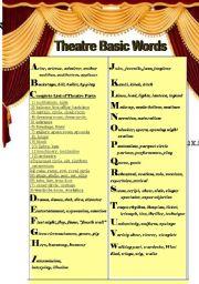 english worksheet theatre basic words. Black Bedroom Furniture Sets. Home Design Ideas