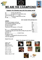 English Worksheets: ��WE ARE THE CHAMPIONS��by QUEEN