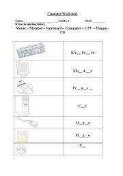 English worksheets: Fill the missing letters