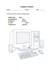 English Worksheet: Color the computer parts