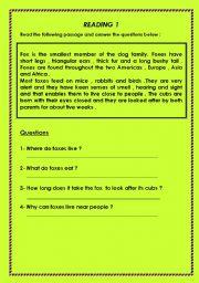 English Worksheets:  reading comprehension worksheets part 6