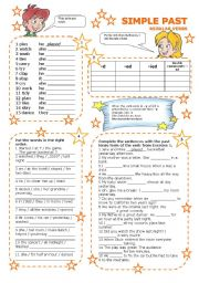 English Worksheet: SIMPLE PAST REGULAR VERBS 1/3