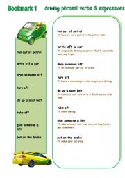 English Worksheet: DRIVING: phrasal verbs and expressions