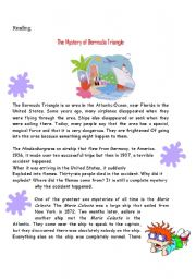 English Worksheet: the mystery of bermuda tringle reading test