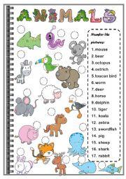 English Worksheets: ANIMALS ( set 3)