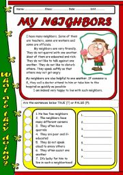 English Worksheet: READING - MY NEIGHBOR