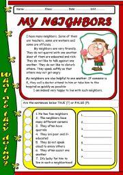 English Worksheets: READING - MY NEIGHBOR