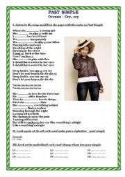 English Worksheet: Past Simple - song
