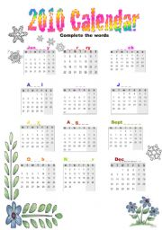 English Worksheet: 2010 calendar