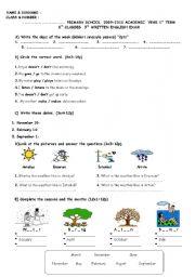 English Worksheet: 6th Grade 3rd Exam