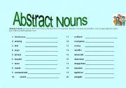 abstract nouns worksheets. Black Bedroom Furniture Sets. Home Design Ideas