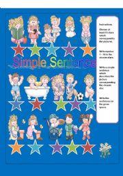 English Worksheets: SIMPLE SENTENCE:WRITING ACTIVITY