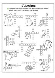 English Worksheets: Clothes and colours