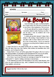 English Worksheets: MS. BONFIRE ( 2 PAGES )