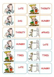 English Worksheet: Adjectives dominoes - 4 pages - 28 dominoes - instructions included -  fully editable
