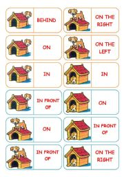 Prepositions - 28 dominoes - 4 pages - instructions included - fully editable