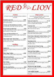 English Worksheet: MENU (of an imaginary restaurant)
