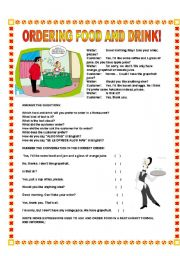 English Worksheet: Ordering food and drink!