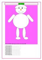 English Worksheets: his body