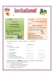 English Worksheets: Invitations!